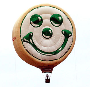 Our Smiley Cookie hot air balloon lifts off for the first time.